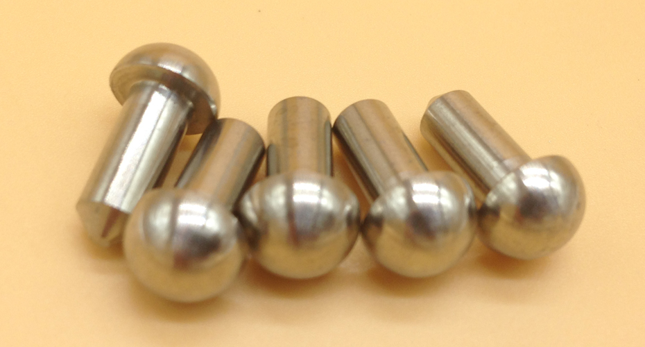 Titanium grooved pins with round head